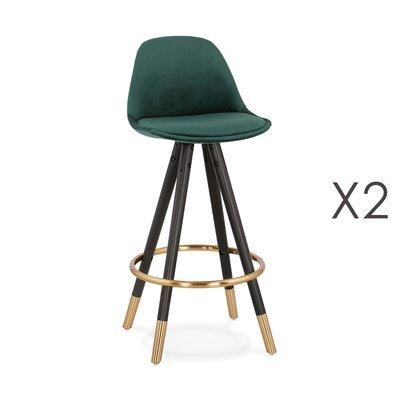 Lot de 2 chaises de bar H65 cm vert pieds noirs et dorés - CIRCOS