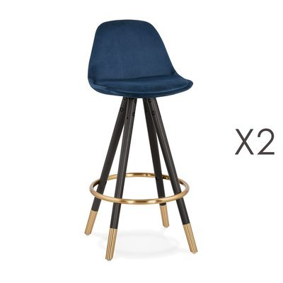 Lot de 2 chaises de bar H65 cm bleu pieds noirs et dorés - CIRCOS