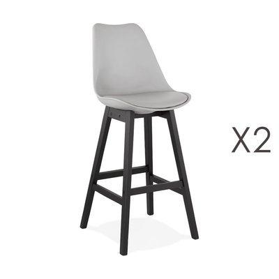 Lot de 2 chaises de bar grises H75 cm avec pieds noirs - ELO