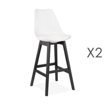 Lot de 2 chaises de bar blanches H75 cm avec pieds noirs - ELO
