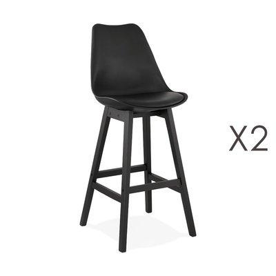 Lot de 2 chaises de bar noires H75 cm avec pieds noirs - ELO
