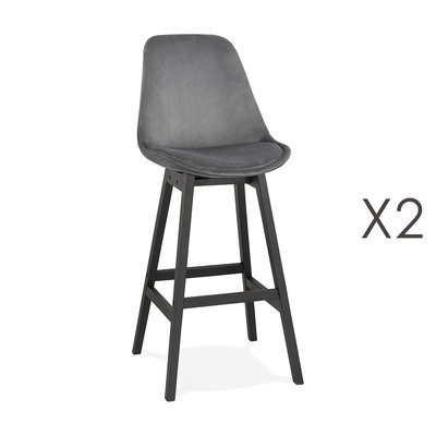 Lot de 2 chaises de bar H76 cm en tissu gris pieds noirs - ELO