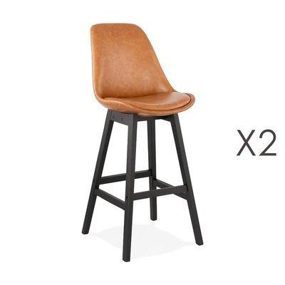 Lot de 2 chaises de bar H75 cm en PU marron pieds noirs - ELO