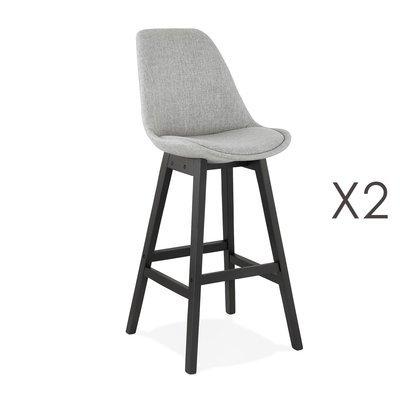 Lot de 2 chaises de bar H75 cm en tissu gris clair pieds noirs - ELO
