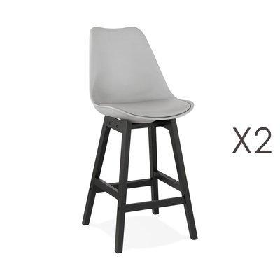 Lot de 2 chaises de bar grises H65 cm avec pieds noirs - ELO