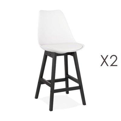 Lot de 2 chaises de bar blanches H65 cm avec pieds noirs - ELO