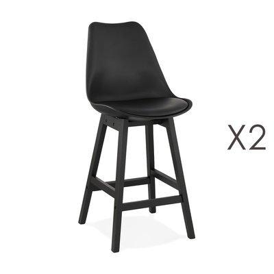 Lot de 2 chaises de bar noires H65 cm avec pieds noirs - ELO