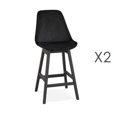 Lot de 2 chaises de bar H66 cm en tissu noir pieds noirs - ELO