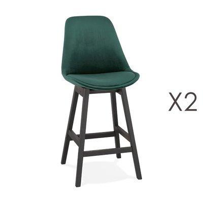 Lot de 2 chaises de bar H66 cm en tissu vert pieds noirs - ELO