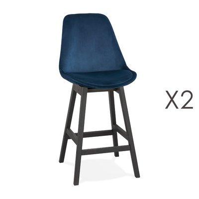 Lot de 2 chaises de bar H66 cm en tissu bleu pieds noirs - ELO