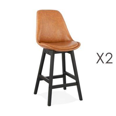 Lot de 2 chaises de bar H65 cm en PU marron pieds noirs - ELO
