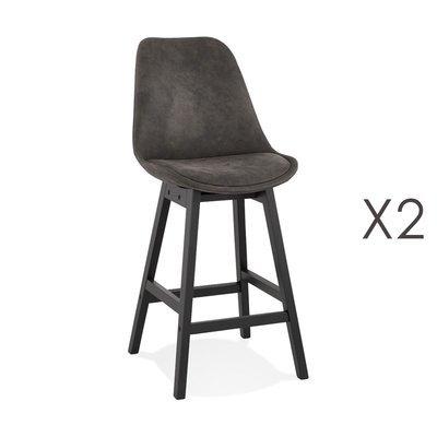 Lot de 2 chaises de bar en tissu gris foncé pieds noirs - ELO