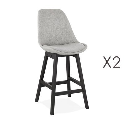 Lot de 2 chaises de bar H65 cm en tissu gris clair pieds noirs - ELO