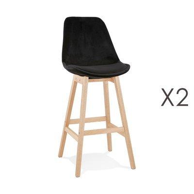 Lot de 2 chaises de bar H76 cm en tissu noir pieds naturels - ELO