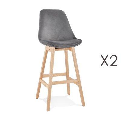 Lot de 2 chaises de bar H76 cm en tissu gris pieds naturels - ELO