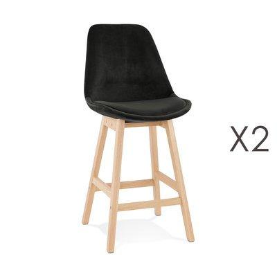 Lot de 2 chaises de bar H66 cm en tissu noir pieds naturels - ELO