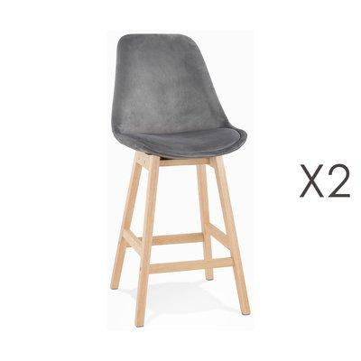 Lot de 2 chaises de bar H66 cm en tissu gris pieds naturels - ELO