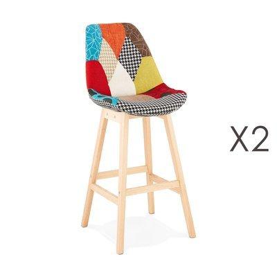 Lot de 2 chaises de bar H75 cm en tissu patchwork - ELO
