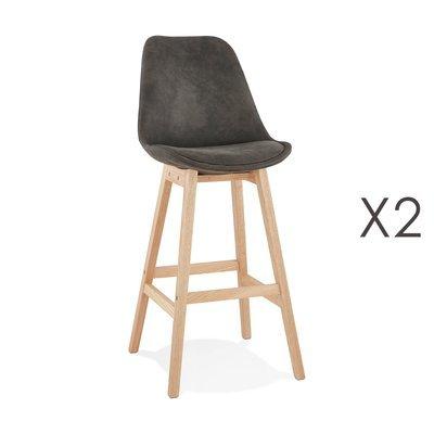 Lot de 2 chaises de bar H76 cm tissu gris foncé pieds naturels - ELO