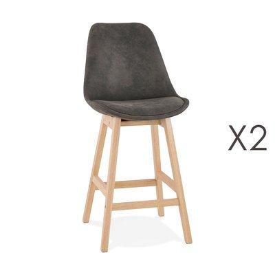 Lot de 2 chaises de bar H66 cm tissu gris foncé pieds naturels - ELO