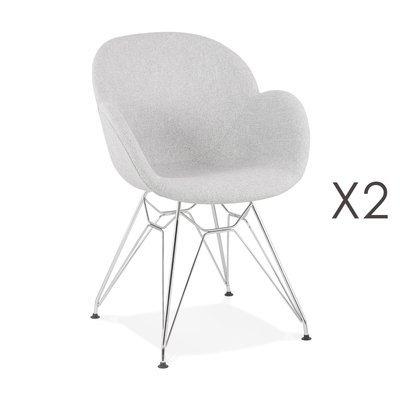 Lot de 2 chaises tissu gris clair piétement en métal chromé - UMILA