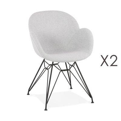 Lot de 2 chaises tissu gris clair piètement en métal noir- UMILA