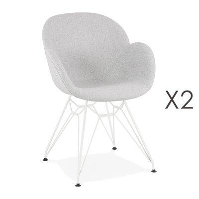 Lot de 2 chaises tissu gris clair piètement en métal blanc - UMILA
