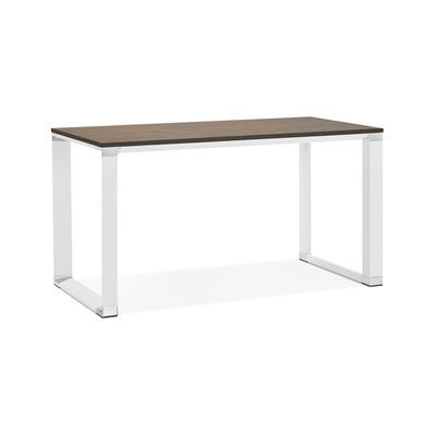 Bureau design 140x70x74 cm plateau en noyer et métal blanc - WARNY