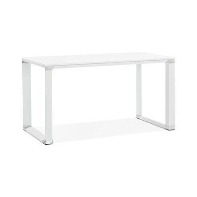 Bureau design 140x70x74 cm plateau blanc et métal blanc - WARNY