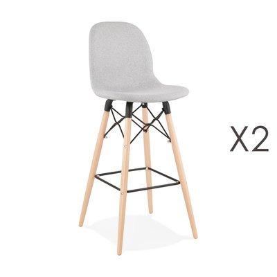 Lot de 2 chaises de bar H75 cm en tissu gris clair - MOANA