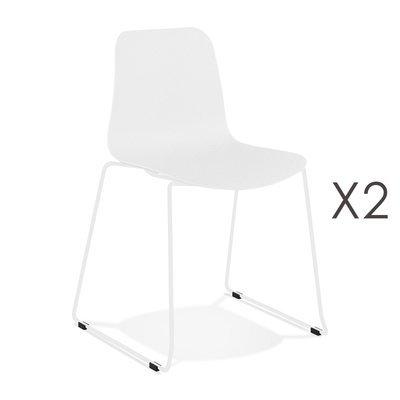 Lot de 2 chaises repas 55x50x82,5 cm blanches et pieds blancs - LAYNA