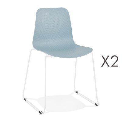Lot de 2 chaises repas 55x50x82,5 cm bleues et pieds blancs - LAYNA