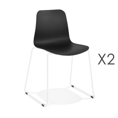 Lot de 2 chaises repas 55x50x82,5 cm noires et pieds blancs - LAYNA