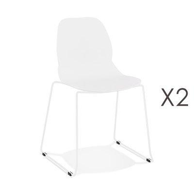 Lot de 2 chaises repas 54x50x85 cm blanches et pieds blancs - LAYNA