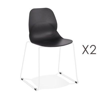 Lot de 2 chaises repas 54x50x85 cm noires et pieds blancs - LAYNA