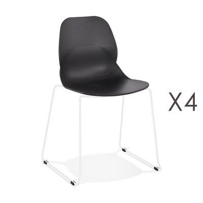 Lot de 4 chaises repas 54x50x85 cm noires et pieds blancs - LAYNA