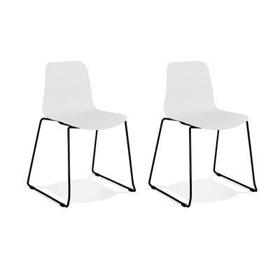 Lot de 2 chaises repas 55x50x82,5 cm blanches et pieds noirs - LAYNA