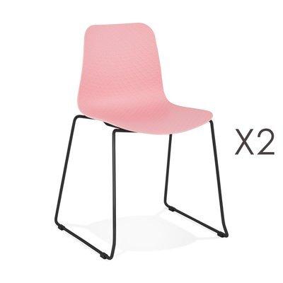 Lot de 2 chaises repas 55x50x82,5 cm roses et pieds noirs - LAYNA