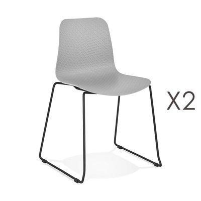 Lot de 2 chaises repas 55x50x82,5 cm grises et pieds noirs - LAYNA