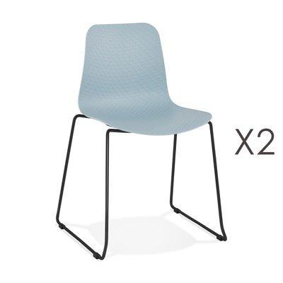 Lot de 2 chaises repas 55x50x82,5 cm bleues et pieds noirs - LAYNA