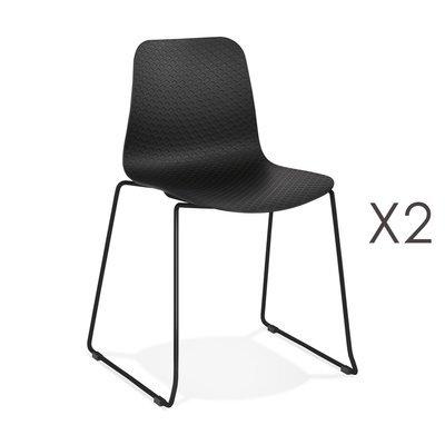 Lot de 2 chaises repas 55x50x82,5 cm noires et pieds noirs - LAYNA