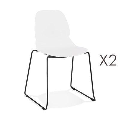 Lot de 2 chaises repas 54x50x85 cm blanches et pieds noirs - LAYNA