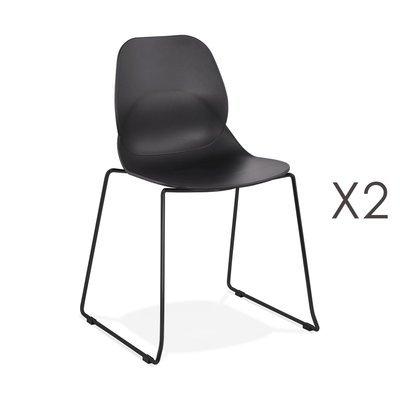 Lot de 2 chaises repas 54x50x85 cm noires et pieds noirs - LAYNA