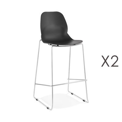 Lot de 2 chaises de bar 52x51,5x111 cm noires pieds chromés - LAYNA