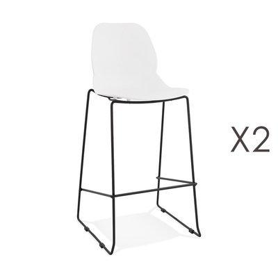 Lot de 2 chaises de bar 52x51,5x111 cm blanches pieds noirs - LAYNA