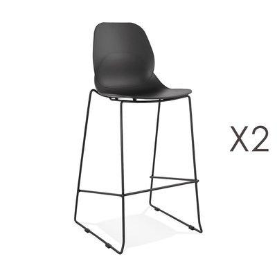 Lot de 2 chaises de bar 52x51,5x111 cm noires pieds noirs - LAYNA