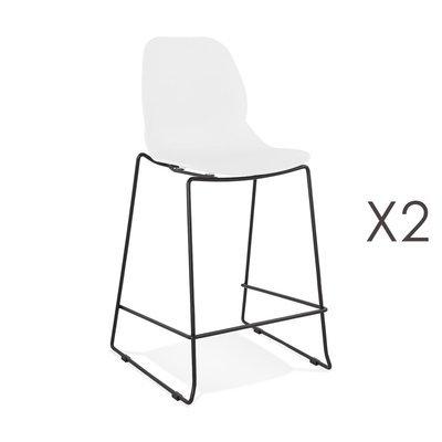 Lot de 2 chaises de bar 52x51,5x101 cm blanches pieds noirs - LAYNA