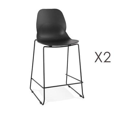 Lot de 2 chaises de bar 52x51,5x101 cm noires pieds noirs - LAYNA