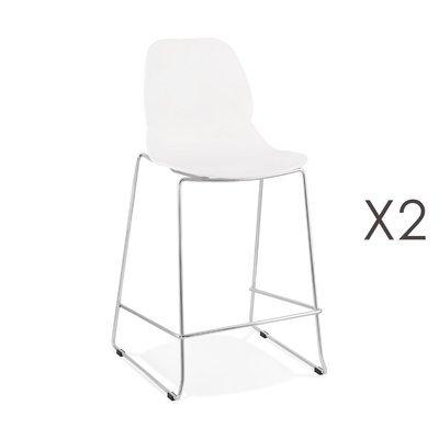 Lot de 2 chaises de bar 52x51,5x101 cm blanches pieds chromés - LAYNA