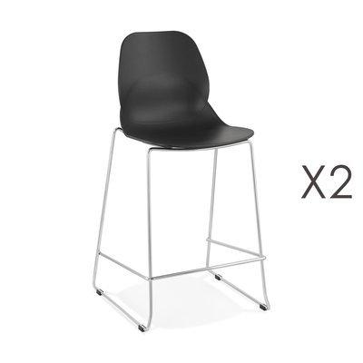 Lot de 2 chaises de bar 52x51,5x101 cm noires pieds chromés - LAYNA